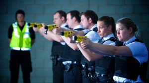 Operational support unit officers during training for the deployment of Tazers.